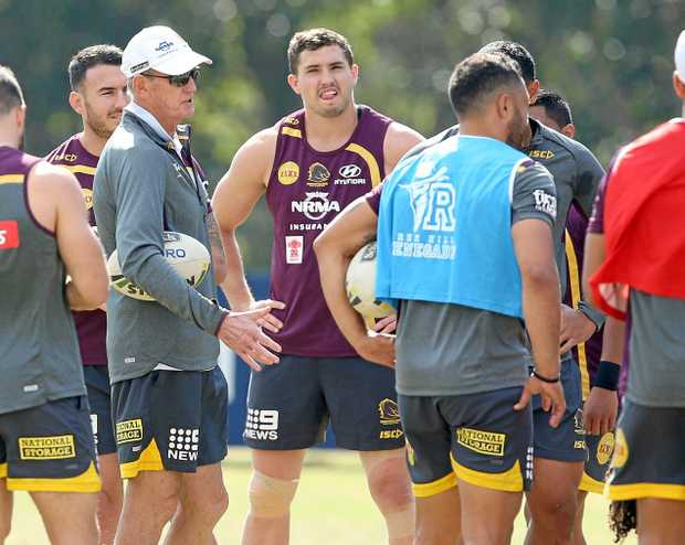 Brisbane coach Wayne Bennett (left) and Corey Oates at a Broncos training session in Red Hill.