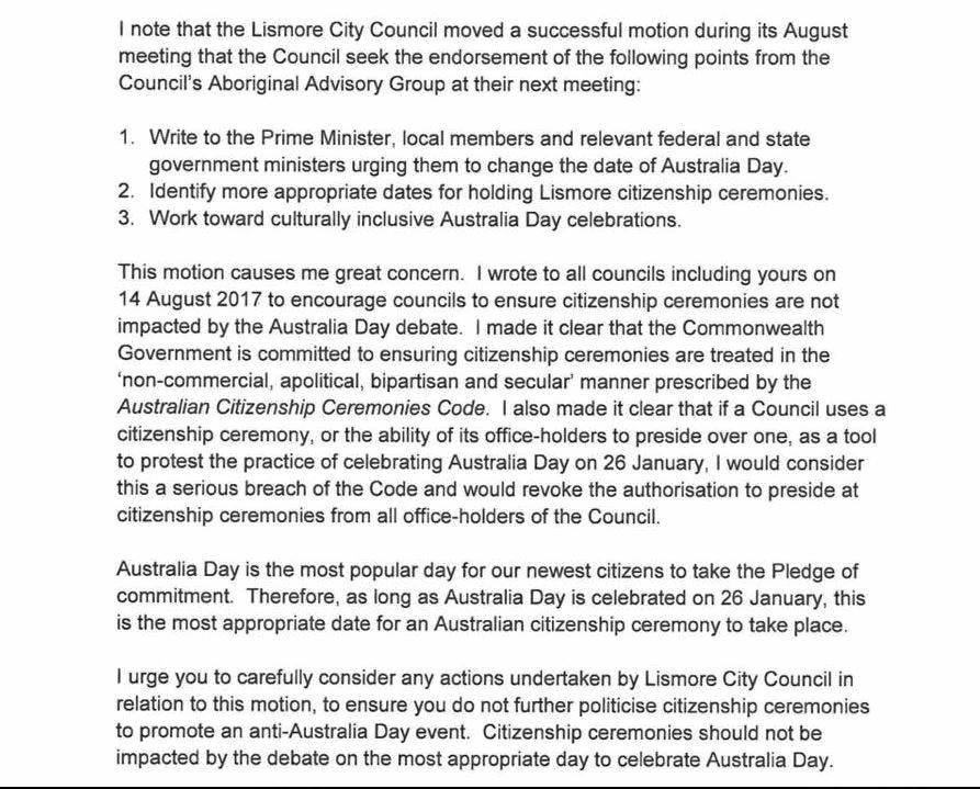 Excerpts from the Office of Immigration's letter to Lismore City Council over its proposal to change the Australia Day date.