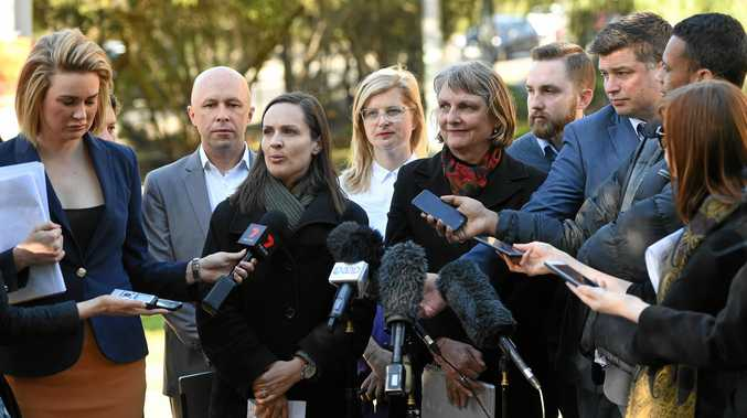 DATE CHANGE: City of Darebin Mayor Kim Le Cerf (third left) and City of Yarra Mayor Amanda Stone (fifth right) comment on earlier decisions by the respective councils to change their Australia Day celebrations in 2018.