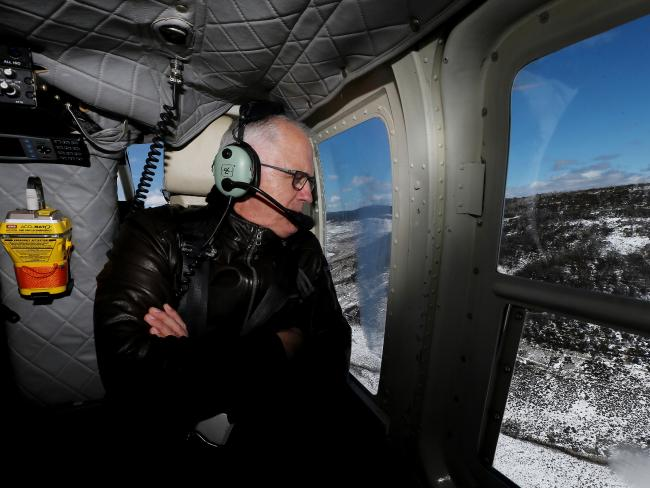 Prime Minister Malcolm Turnbull during an aerial tour of the Snowy Mountains region. Picture: AAP Image/Fairfax Pool, Alex EllinghausenSource:AAP