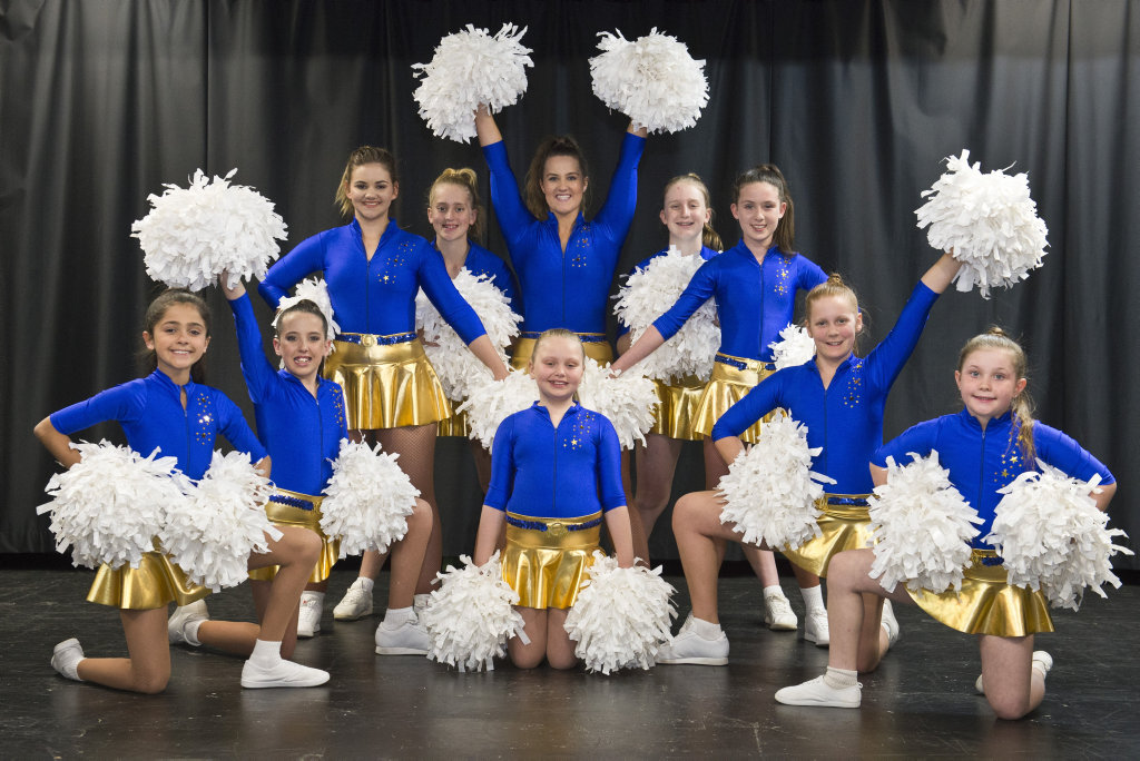 Toowoomba City Cheerleaders (from left) Inara Draper, Zahnee Walters, Chloe Single, Kaylee Keehn, Chelsey Fien, Emilee Keehn, Taya Auld, Anna Cairns, Arabella Smith and (front, centre) Hope Collins prepare for trip to Sydney to perform at ANZ Stadium with the Parramatta Eels Cheerleaders, Tuesday, August 29, 2017.