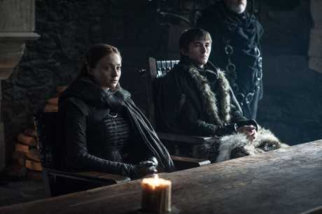 Sophie Turner and Isaac Hempstead Wright in a scene from the season 7 finale of Game of Thrones.