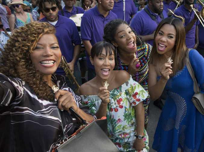 Queen Latifah, Jada Pinkett Smith, Tiffany Haddish and Regina Hall in a scene from Girls Trip.