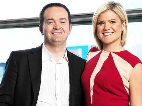 Studio 10s executive producer Rob McKnight and host Sarah Harris.