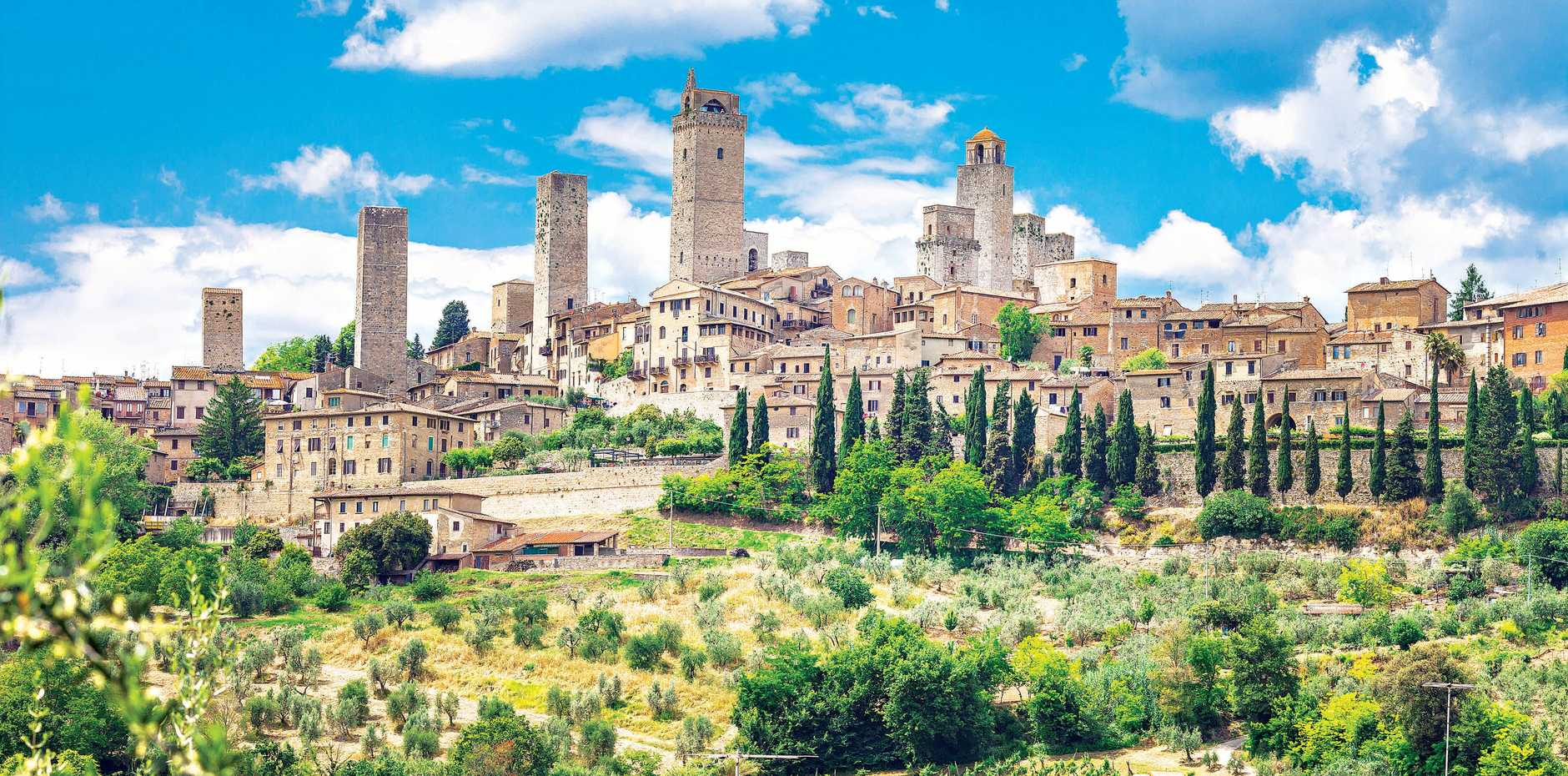 The olive groves and grapevines that flank the impressive medieval town of San Gimignano in Tuscany.