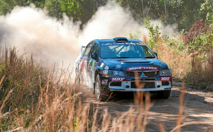 TEST RUN: Nathan Quinn test drives Wedding Bells ahead of the Kennards Hire Rally Australia launch.