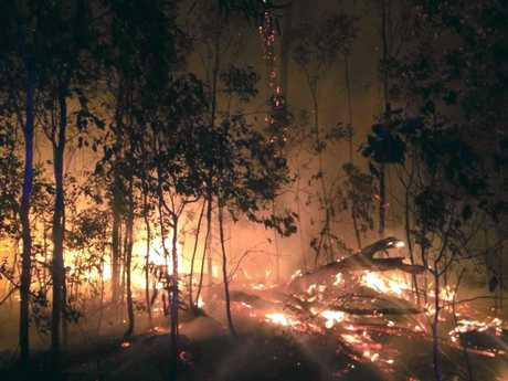 WALLIGAN FIRE: Photos were taken by QFES crews near Churchill Mines Road overnight (August 29-30).