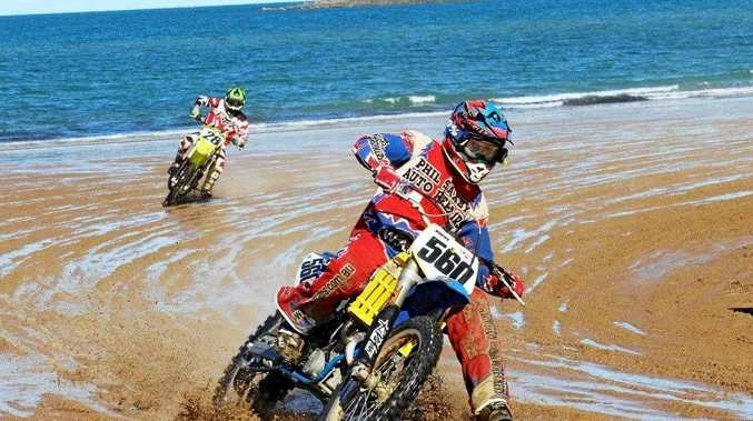 DRIFT: The sand offers a unique race track for the custom built motorcycles.