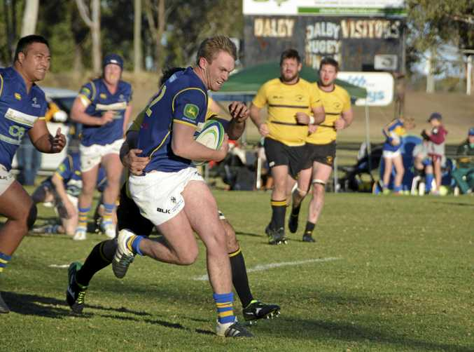 Dalby centre Daniel Ostwald looks to bust the Goondiwindi defence during their Risdon Cup qualifying semi-final at John Ritter Oval two weeks ago.