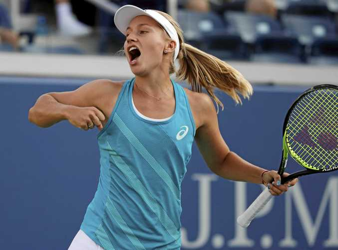 Daria Gavrilova, of Australia, reacts after beating Allie Kiick, of the United States, during the first round of the US Open.