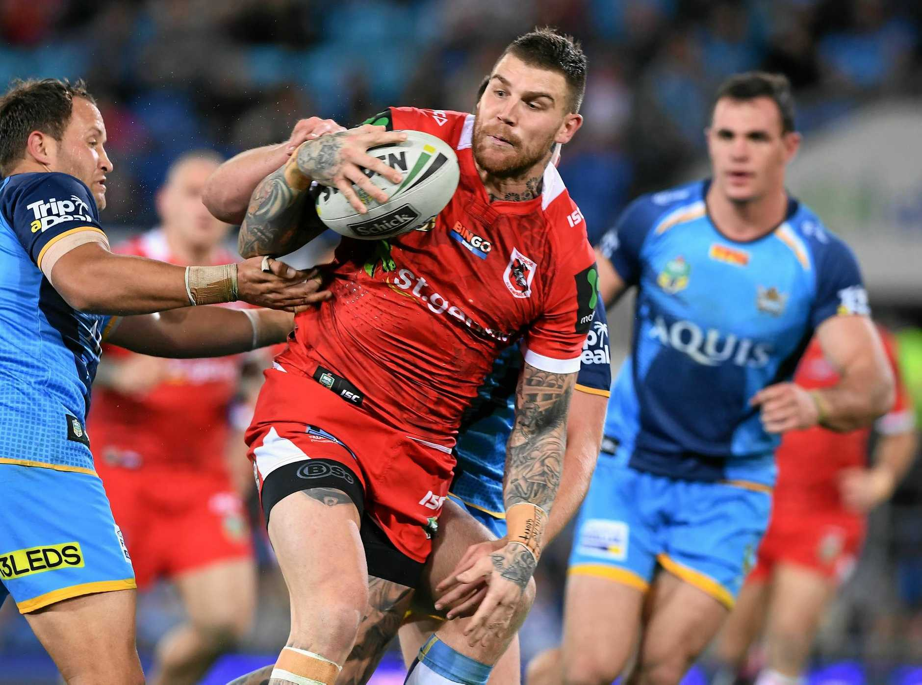 Dragons player Josh Dugan during the round 17 match against the Titans.