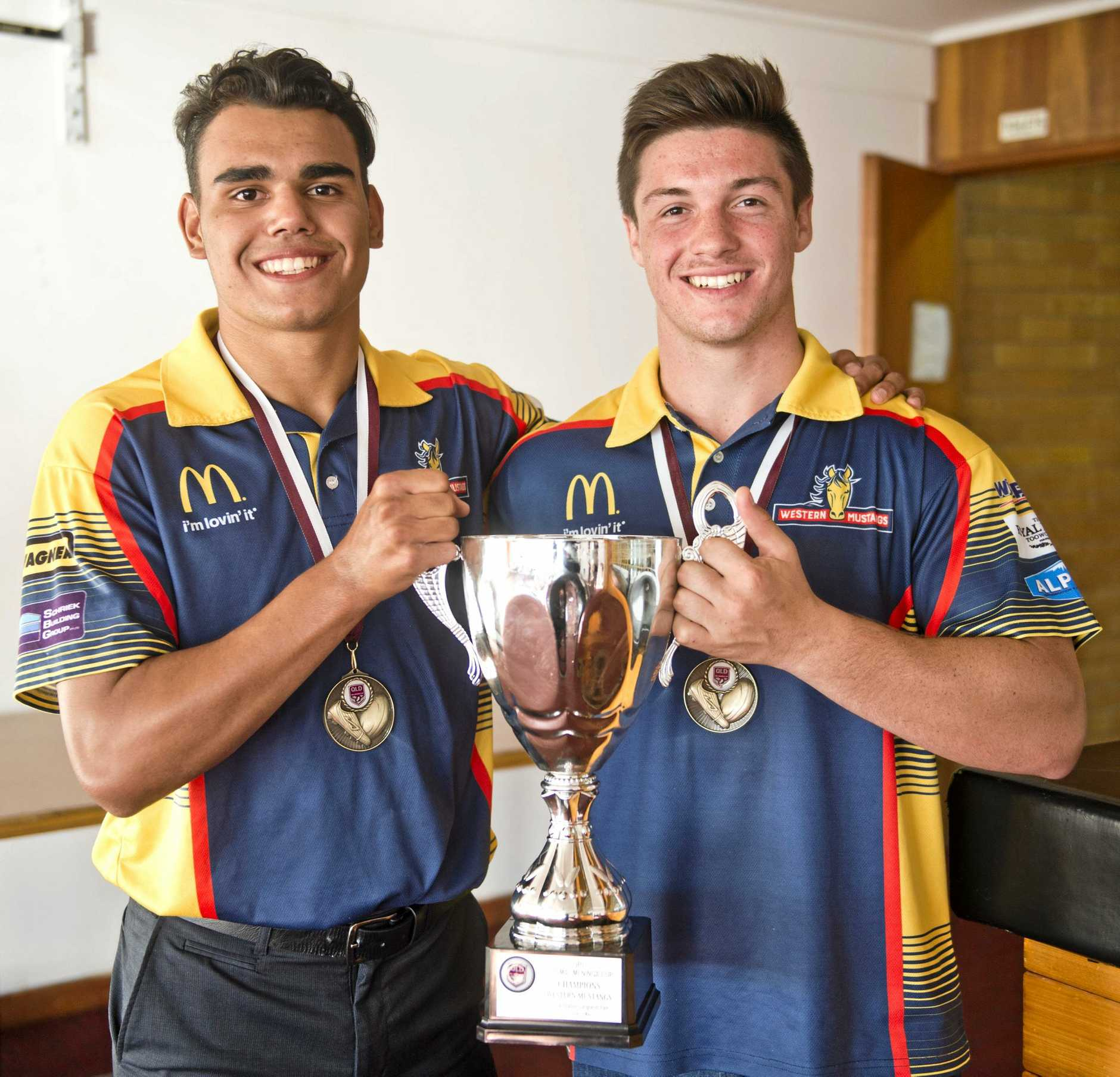 CUP JOY: Western Mustangs stars (from left) Denzel Burns and Cory Paix with the Mal Meninga Cup.