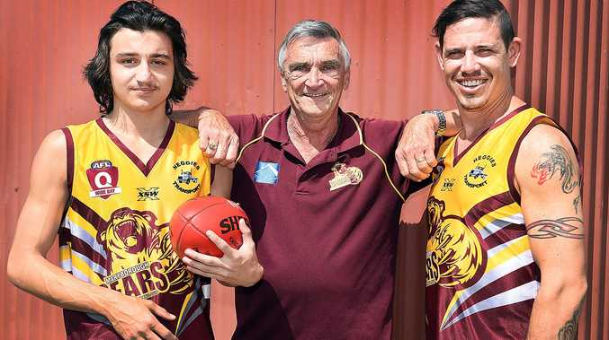 FINAL:: Maryborough trio Jarrod Stothard (left) and Ben Brown with coach Russell Green (centre).