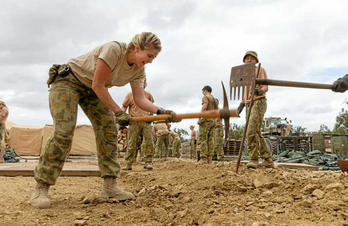 Members of Australian Army's 2nd General Health Battalion construct a field hospital in the vicinity of Williamson Airfield, Shoalwater Bay as part of Talisman Saber 2017.