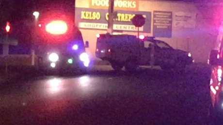 Police at the scene in Kelso, following the fatal shooting of man. Picture: Top Notch Video