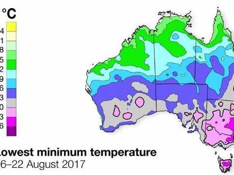August saw some of the coldest temperatures of winter, particularly in the south east. Picture: Bureau of Meteorology.