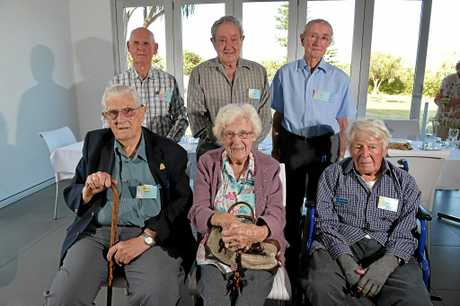 SURVIVORS: World War Two veterans, now aged in their 90's, gather at the Kawana Waters Surf Club for a luncheon.(back l-r) Keith Buchan, John Blount, Phil Wilkins, (front l-r) Adrian Nall, Margaret Hadlow and John Colston.