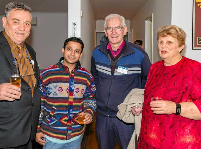 Toowoomba City Toastmasters 25th Anniversary event. Warming up for the function are (from left) Larry Arnold,Bijay Chapagain,Robert James and Barbara Kerslake.