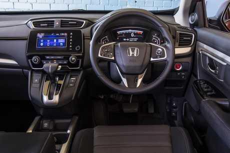 Inside the Honda CR-V.