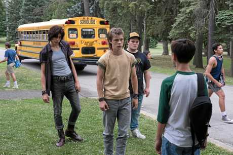 Owen Teague, Nicholas Hamilton, Jake Sim and Jack Dylan Grazer in a scene from the movie It. Supplied by Warner Bros.