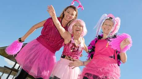 Leanne Druery, Chrissy Evangelou and Kelly Beckingham are set for the Pink Day Breastscreen Awareness Fun Run.