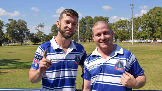 BROTHERS IN ARMS: Halfback Jake Langdon with best mate and five-eighth Ryan Burke.