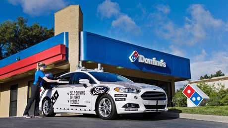 Ford tests an autonomous driverless car with Dominos pizza in the US.