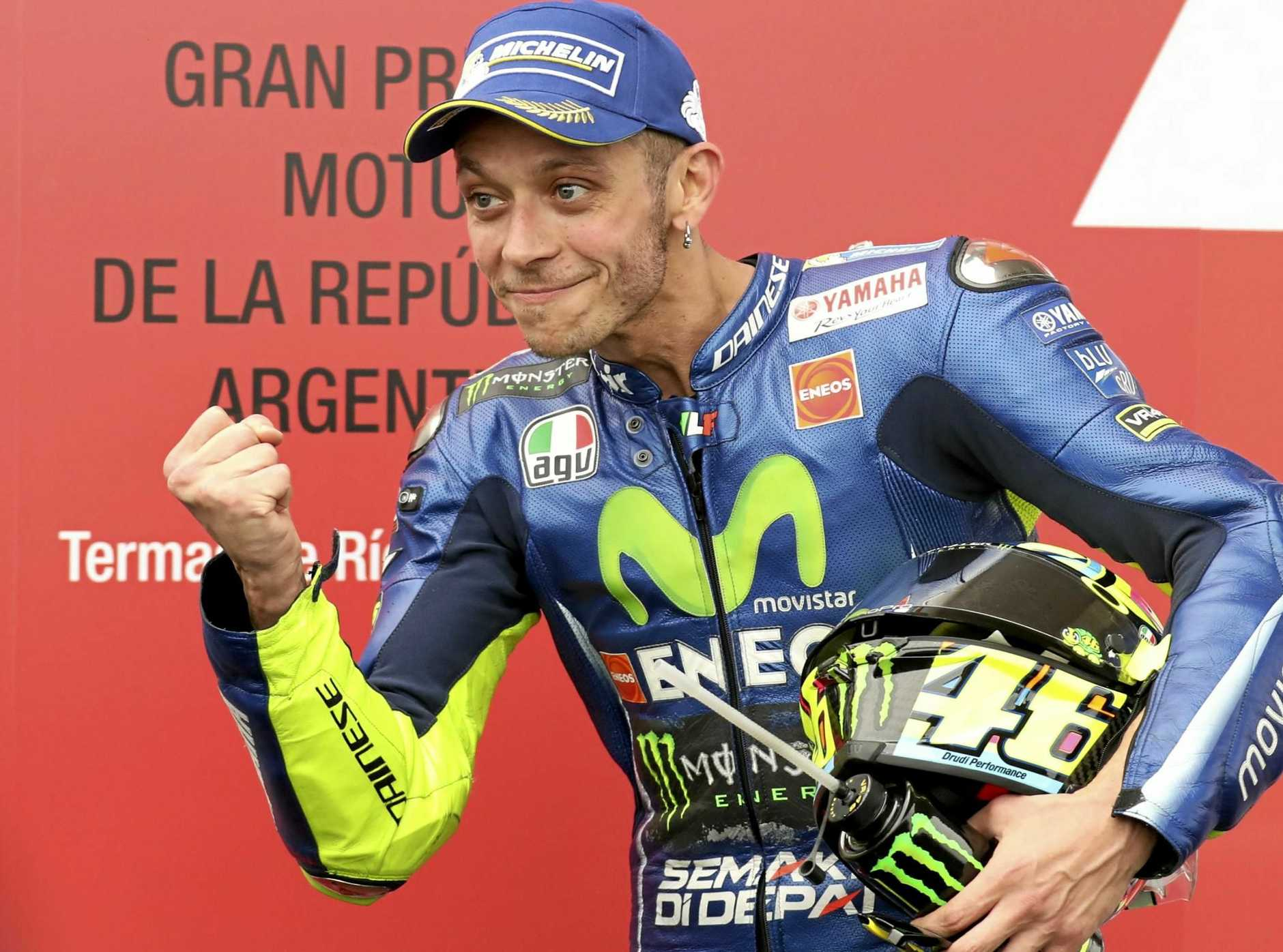 Italy's Valentino Rossi after winning second place at the Argentine MotoGP in April.