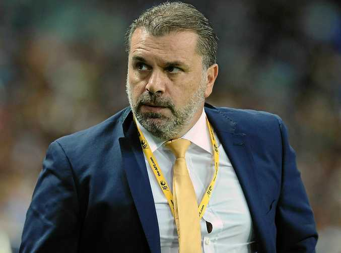 Socceroos coach Ange Postecoglou during the World Cup qualifier against Japan in Saitama.