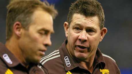 Hawks head coach Alastair Clarkson (left) with assistant coach Brett Ratten.