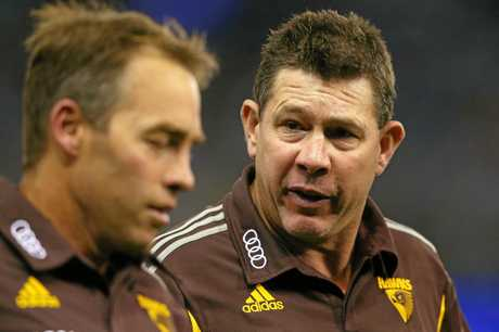 Hawks head coach Alastair Clarkson (left) with assistant coach Brett Ratten.