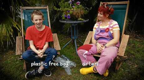 ENTHUSIASTIC: Arlian Ecker of Ballina as Plastic-Free Boy with Dirtgitl in Get Grubby TV.