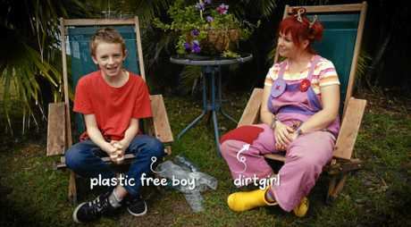 ENTHUSIASTIC: Arlian Ecker of Ballina as Plastic-Free Boy with Dirtgitl in Get Grubby TV.