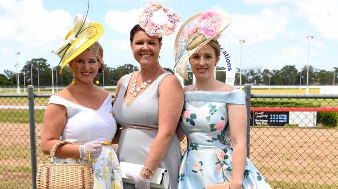 AT THE RACES: Maryann Douglass, Felicity Griffin and Rachael Murray dress to impress at Thabeban Park.