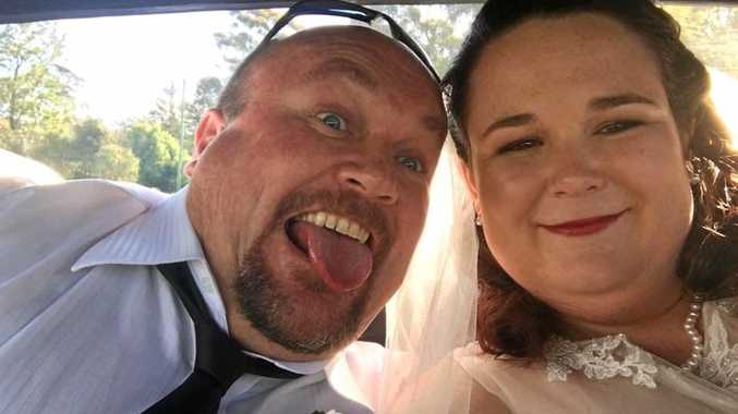 Katherine Simpson and her dad Wayne Norley on her wedding day.