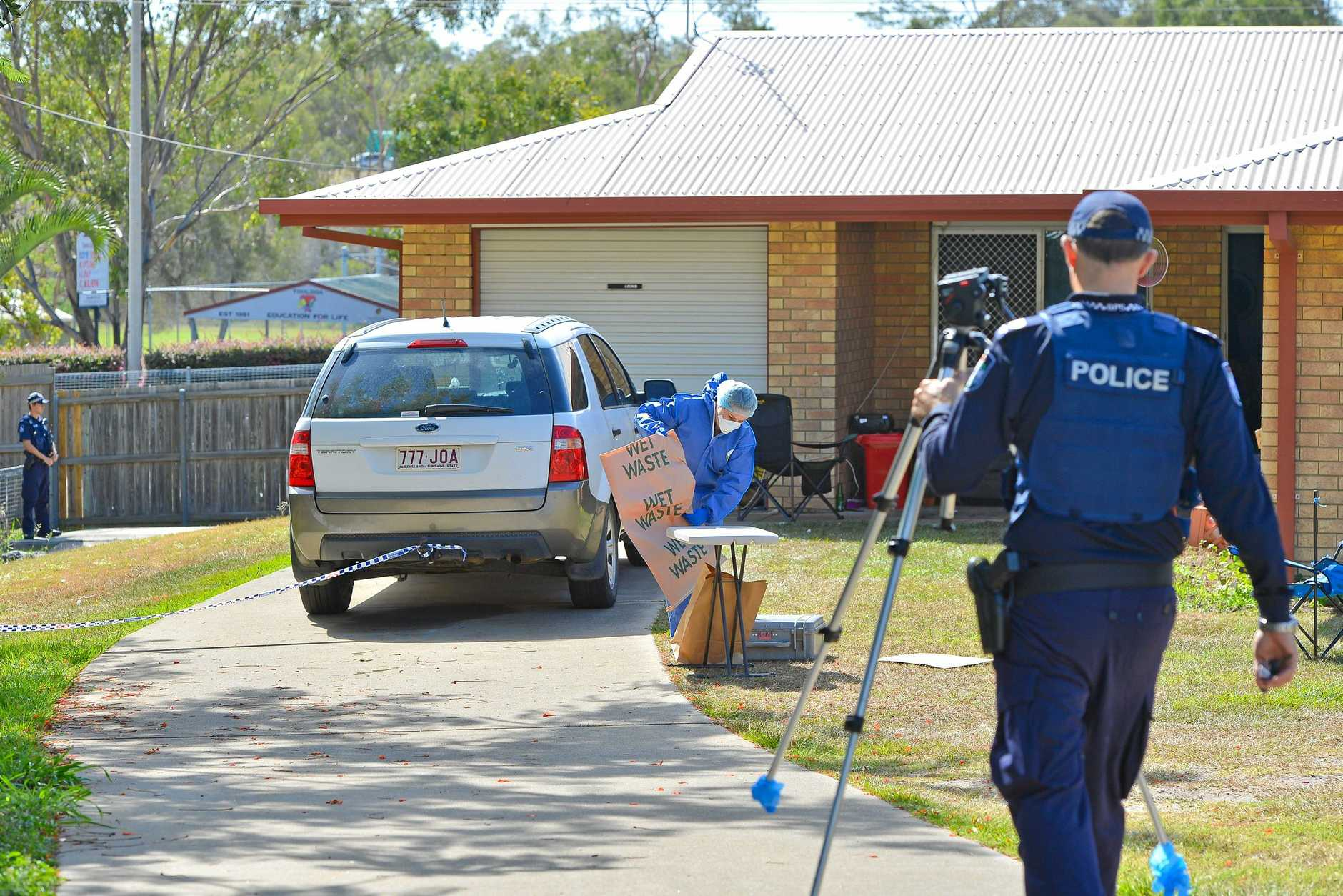 Senior sergeant Adrian Brock at the fatal stabbing in South Gladstone. Photo Mike Richards / The Observer