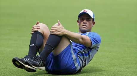 Steve O'Keefe stretches during a training session ahead of the second Test against India.