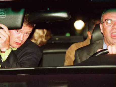 Bodyguard Trevor Rees-Jones and driver Henri Paul with Princess Diana sitting in rear seat of Mercedes Benz before the crash. Picture: Supplied