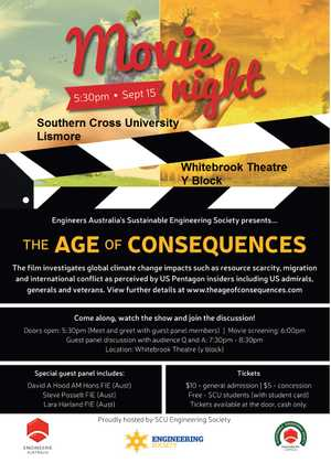 Climate Change Movie Night  w/ Guest Panel Discussion and Q&A.  Opens: 5:30pm. Screens: 6:00pm. Q&A/Discussion: 7:30-8:30pm.  Tickets @ door-no EFTPOS.