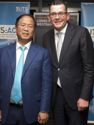Property billionaire Huang Xiangmo with Premier Daniel Andrews.