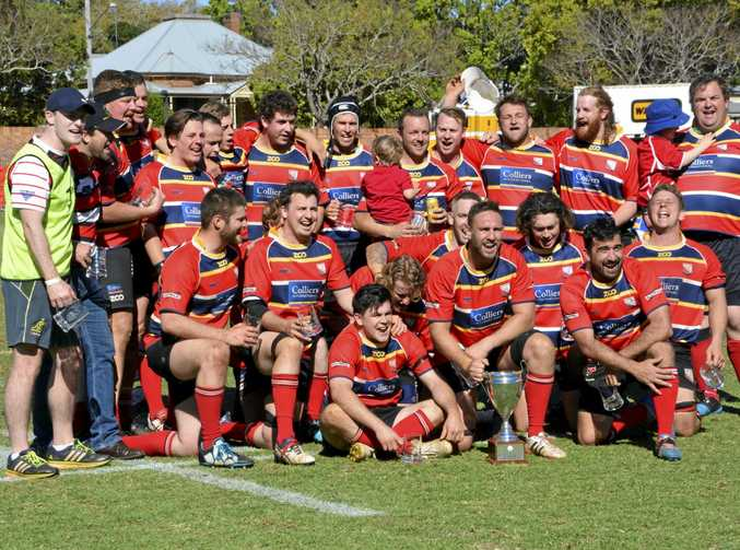 Toowoomba Rangers celebrating their Downs Rugby B-grade premiership win today over Dalby at Clive Berghofer Stadium.