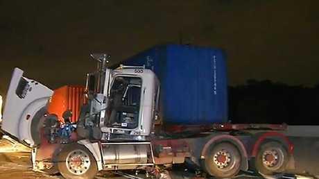 Horror truck crash on Port Drive Brisbane.