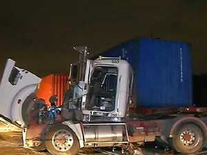 Injuries after semi-trailer and B-double collide