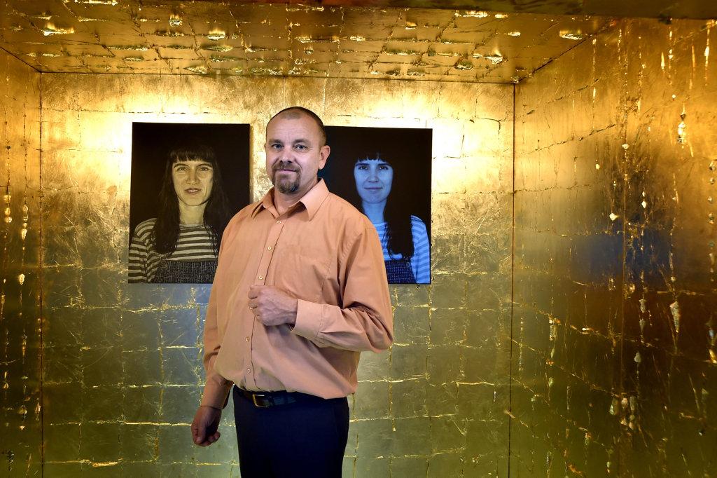 Downlands Art Exhibition, curator Evan Hollis inside the artwork of Christopher R Inwood. September 2017