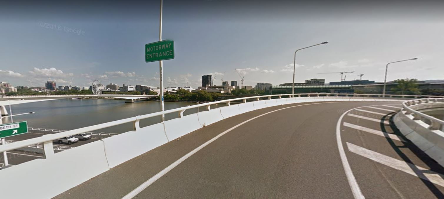The impact threw the rider over the barrier into the Brisbane River. Image: Google Maps