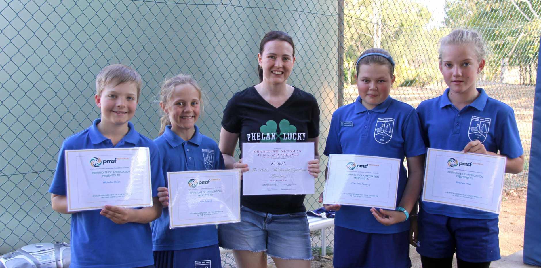 GREAT WORK: Nicholas Hiron, Julia Adams, Katelyn Hannant, Charlotte Pomeroy and Emerson Weir raised money for the Phelan-McDermid Syndrome Foundation.