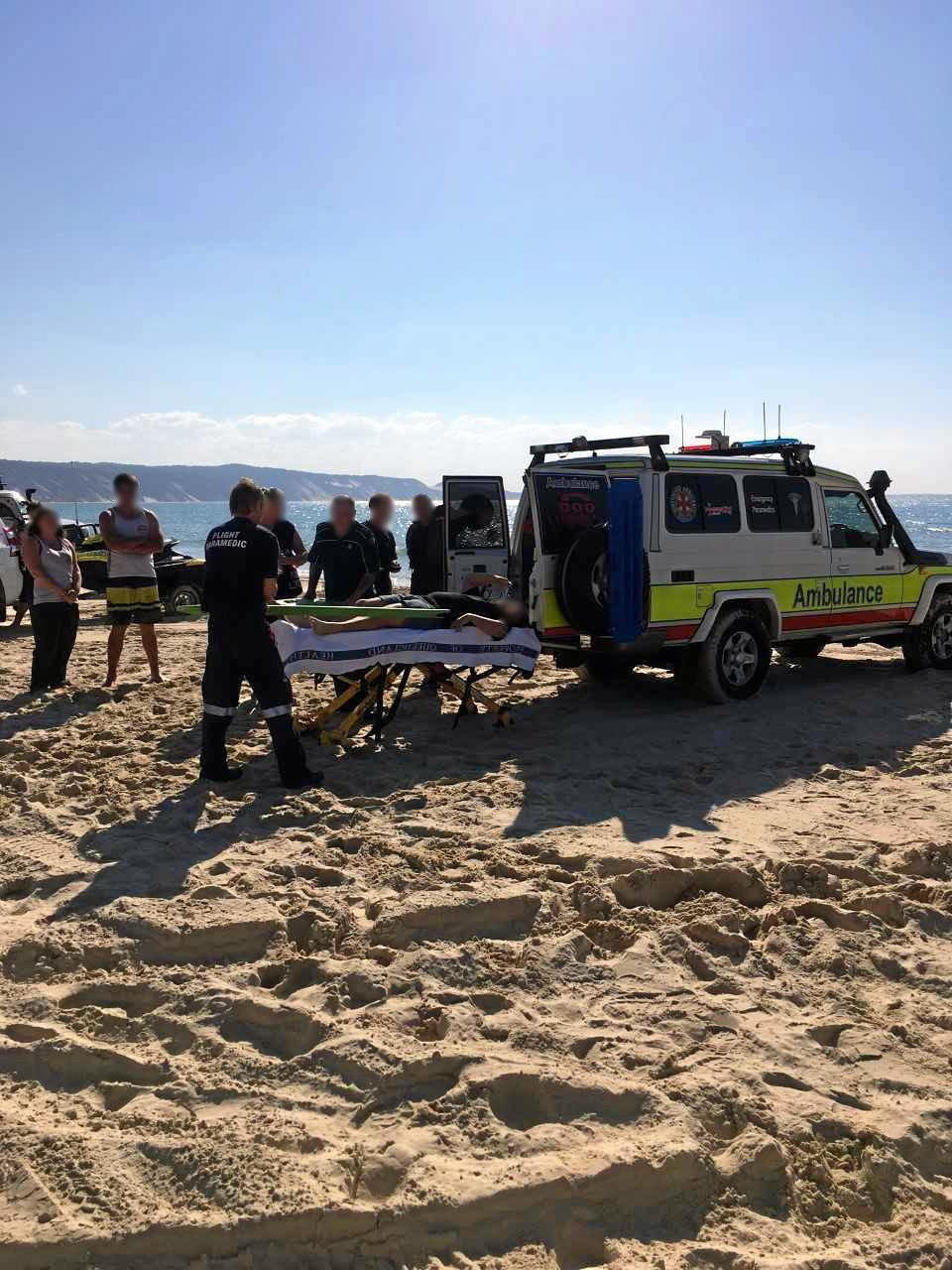 A man has been injured after hitting a freak wave on his jet ski at Double Island Pt.