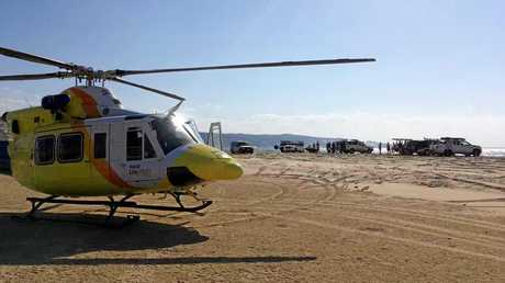 SUSPECTED INJURIES: A young jet ski rider has been airlifted to hospital  from Double Island Point by the Bundaberg based RACQ LifeFlight Rescue helicopter after hitting a freak wave at speed and suffering suspected spinal injuries.