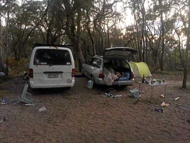 Bongs, pipes, rubbish, human faeces, tents, bonfires and loud music took over at Springs Beach car park on Sunday night.