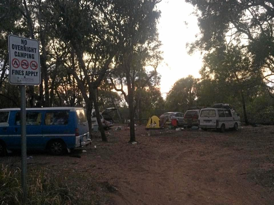 The group camped illegally after the